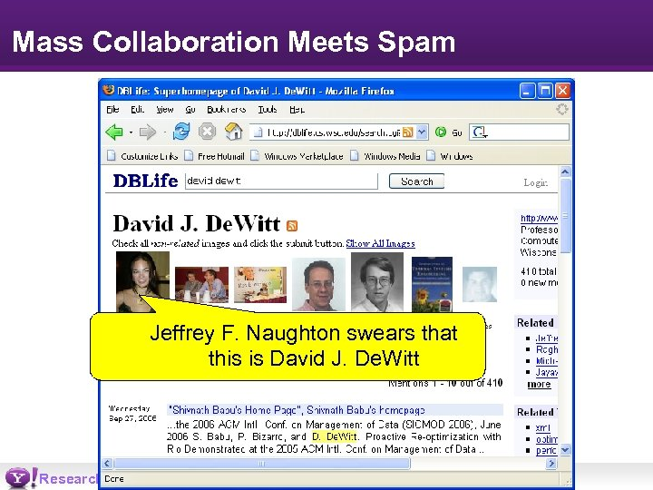 Mass Collaboration Meets Spam Jeffrey F. Naughton swears that this is David J. De.