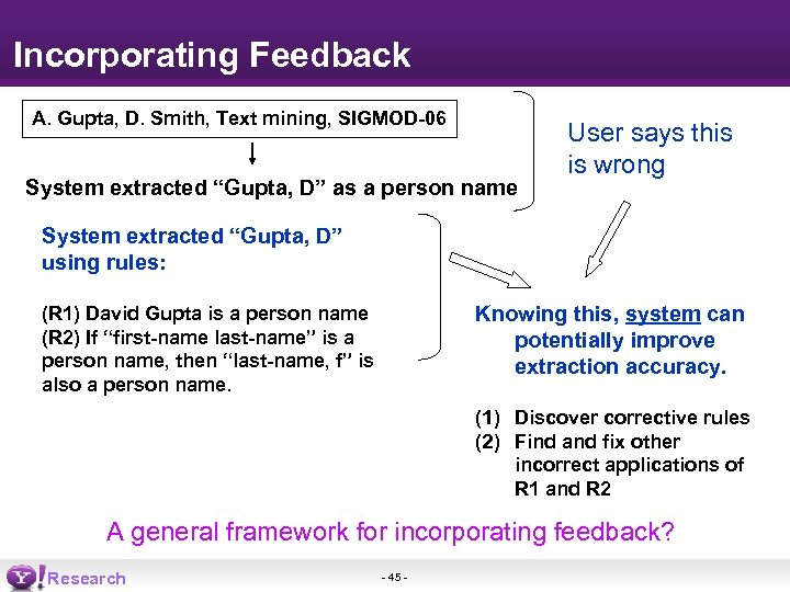 "Incorporating Feedback A. Gupta, D. Smith, Text mining, SIGMOD-06 System extracted ""Gupta, D"" as"