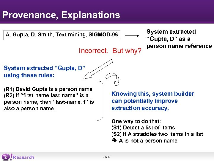 Provenance, Explanations A. Gupta, D. Smith, Text mining, SIGMOD-06 Incorrect. But why? System extracted
