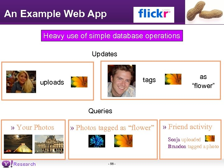 An Example Web App Heavy use of simple database operations Updates tags uploads as