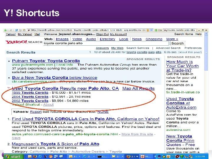 Y! Shortcuts Research -8 -
