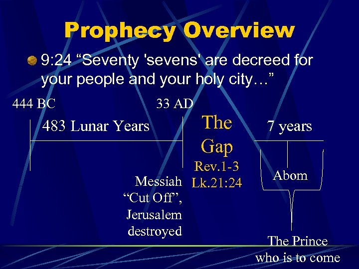"Prophecy Overview 9: 24 ""Seventy 'sevens' are decreed for your people and your holy"
