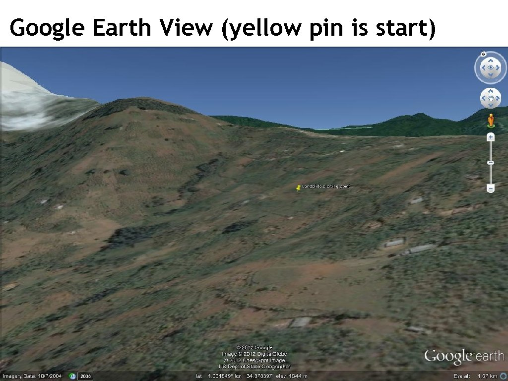 Google Earth View (yellow pin is start)