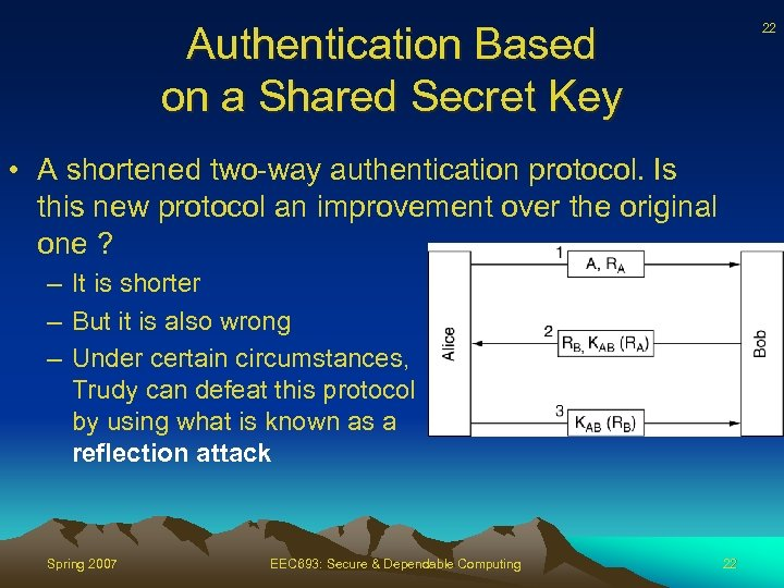 Authentication Based on a Shared Secret Key 22 • A shortened two-way authentication protocol.