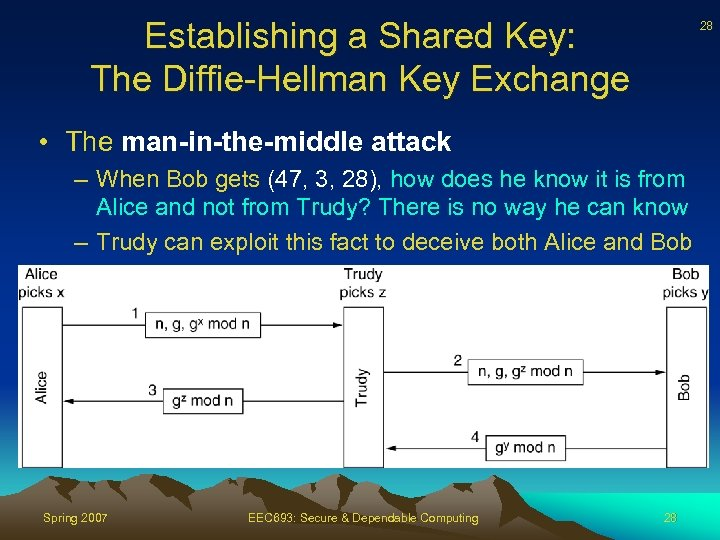 Establishing a Shared Key: The Diffie-Hellman Key Exchange 28 • The man-in-the-middle attack –