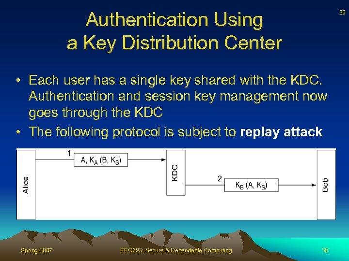 Authentication Using a Key Distribution Center 30 • Each user has a single key