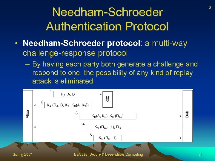 Needham-Schroeder Authentication Protocol 31 • Needham-Schroeder protocol: a multi-way challenge-response protocol – By having