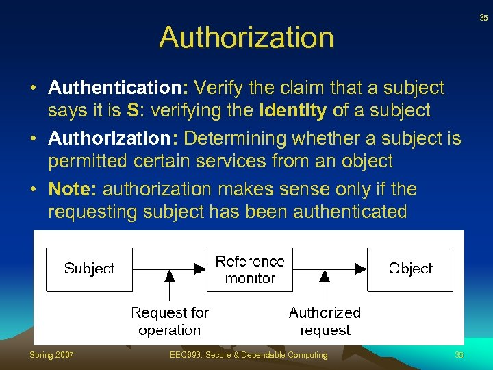 35 Authorization • Authentication: Verify the claim that a subject says it is S: