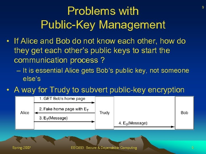 Problems with Public-Key Management 9 • If Alice and Bob do not know each