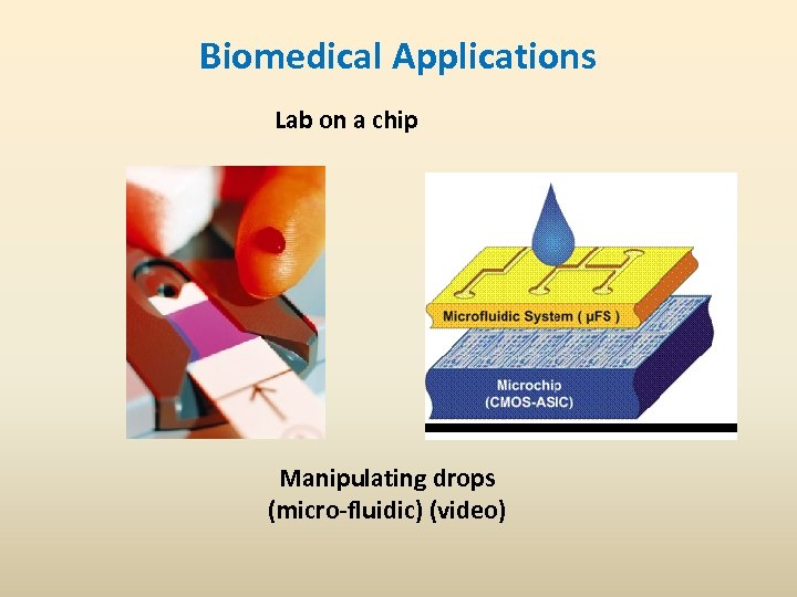 Biomedical Applications Lab on a chip Manipulating drops (micro-fluidic) (video)