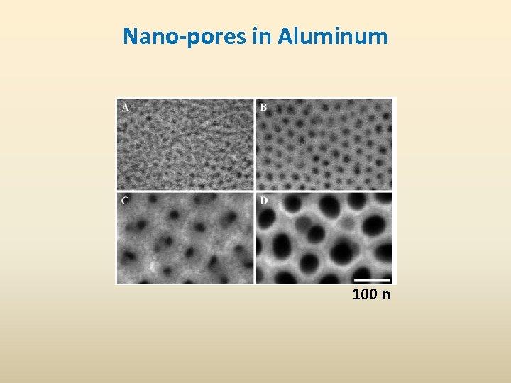 Nano-pores in Aluminum 100 n