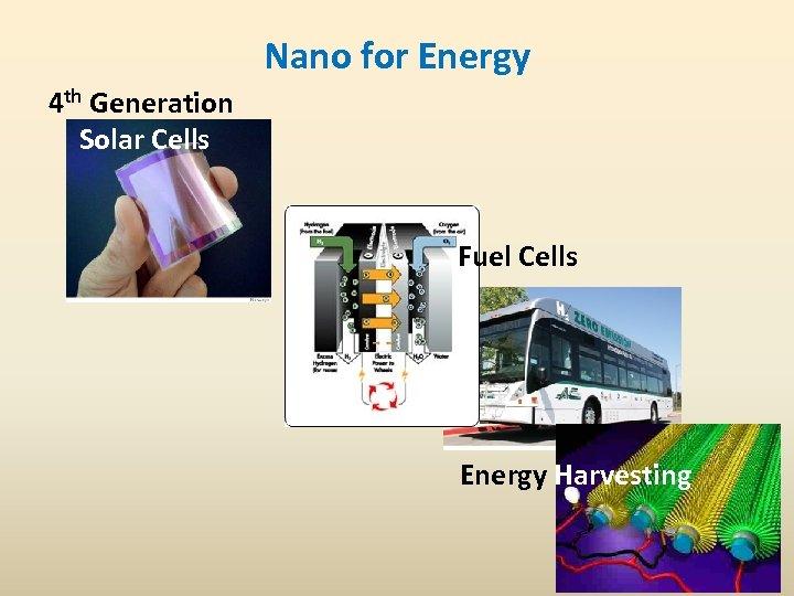Nano for Energy 4 th Generation Solar Cells Fuel Cells Energy Harvesting