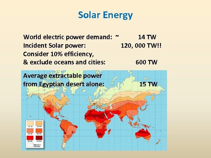 Solar Energy World electric power demand: ~ 14 TW Incident Solar power: 120, 000