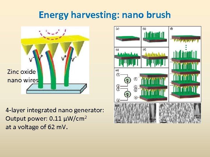 Energy harvesting: nano brush Zinc oxide nano wires 4 -layer integrated nano generator: Output