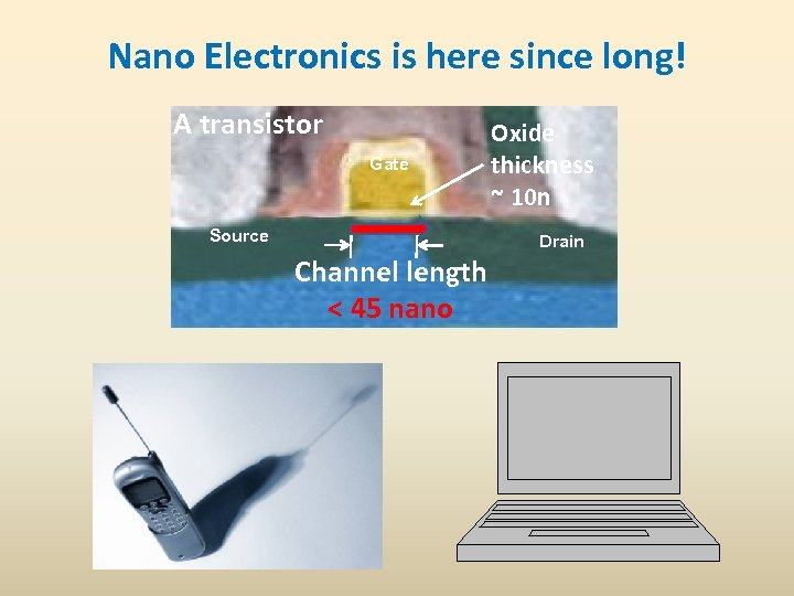 Nano Electronics is here since long! A transistor Gate Source Oxide thickness ~ 10