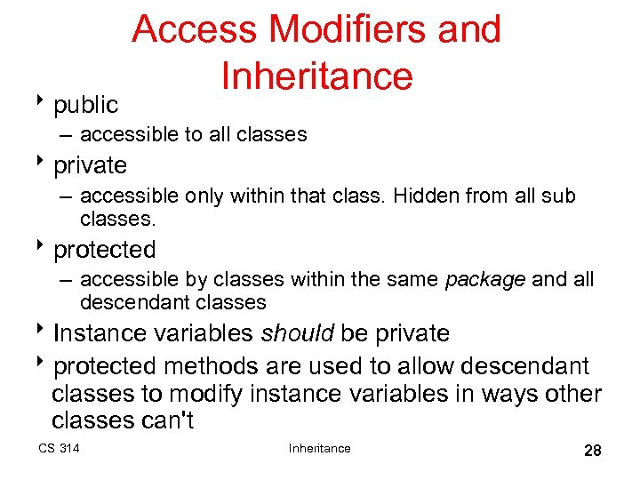 8 public Access Modifiers and Inheritance – accessible to all classes 8 private –