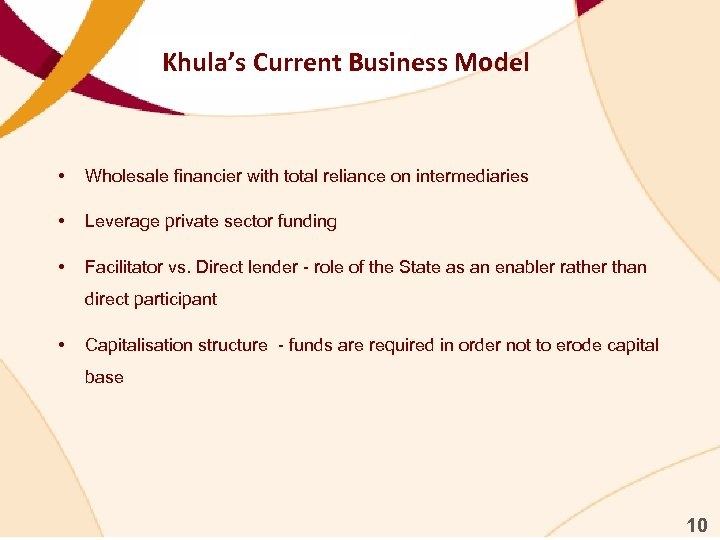 Khula's Current Business Model • Wholesale financier with total reliance on intermediaries • Leverage