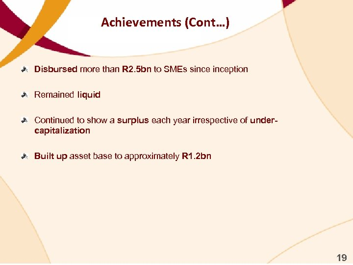 Achievements (Cont…) Disbursed more than R 2. 5 bn to SMEs sinception Remained liquid