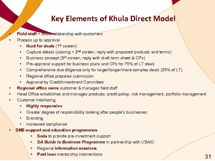 Key Elements of Khula Direct Model • • • Field staff = close relationship