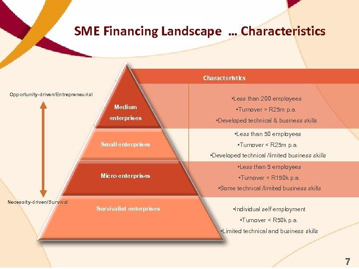 SME Financing Landscape … Characteristics Opportunity-driven/Entrepreneurial Medium • Less than 200 employees Medium •