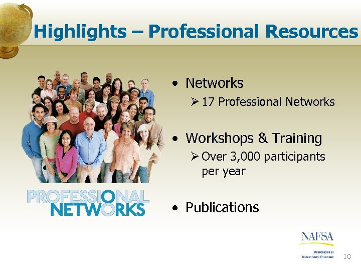 Highlights – Professional Resources • Networks Ø 17 Professional Networks • Workshops & Training