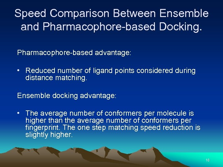 Speed Comparison Between Ensemble and Pharmacophore-based Docking. Pharmacophore-based advantage: • Reduced number of ligand
