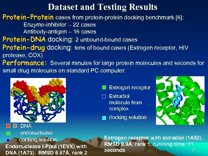 Dataset and Testing Results Protein-Protein cases from protein-protein docking benchmark [6]: Enzyme-inhibitor – 22