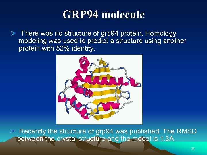 GRP 94 molecule There was no structure of grp 94 protein. Homology modeling was