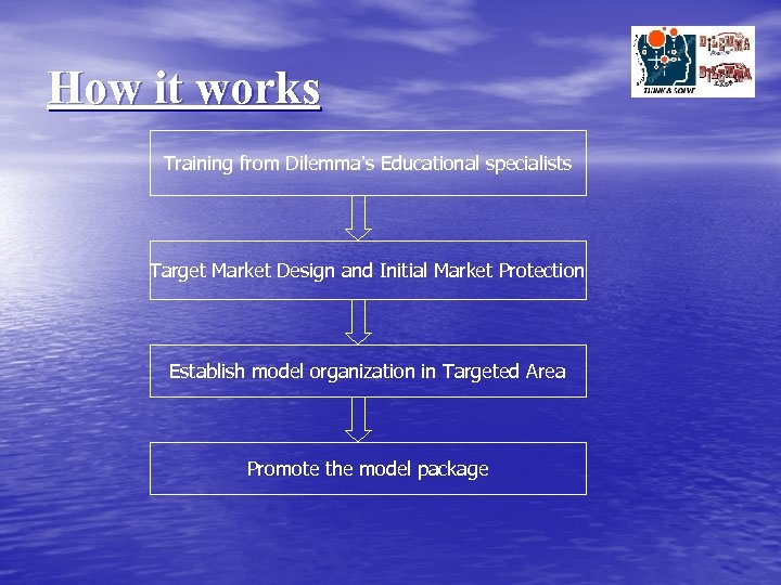 How it works Training from Dilemma's Educational specialists Target Market Design and Initial Market
