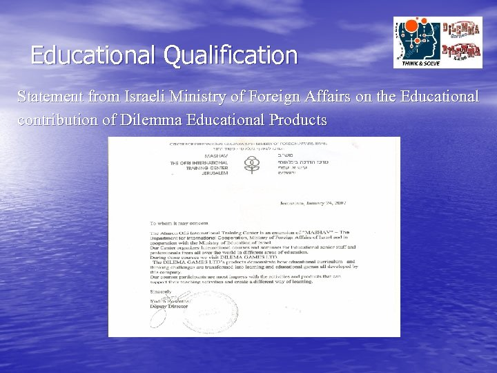 Educational Qualification Statement from Israeli Ministry of Foreign Affairs on the Educational contribution of
