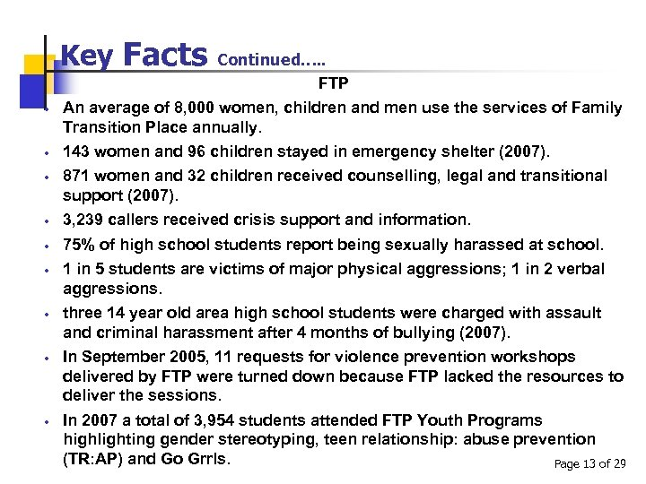Key Facts Continued…. . FTP An average of 8, 000 women, children and men