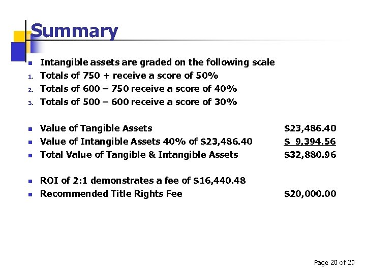 Summary n 1. 2. 3. n n n Intangible assets are graded on the