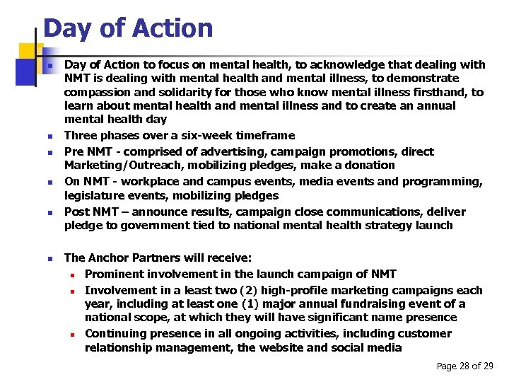 Day of Action n n n Day of Action to focus on mental health,