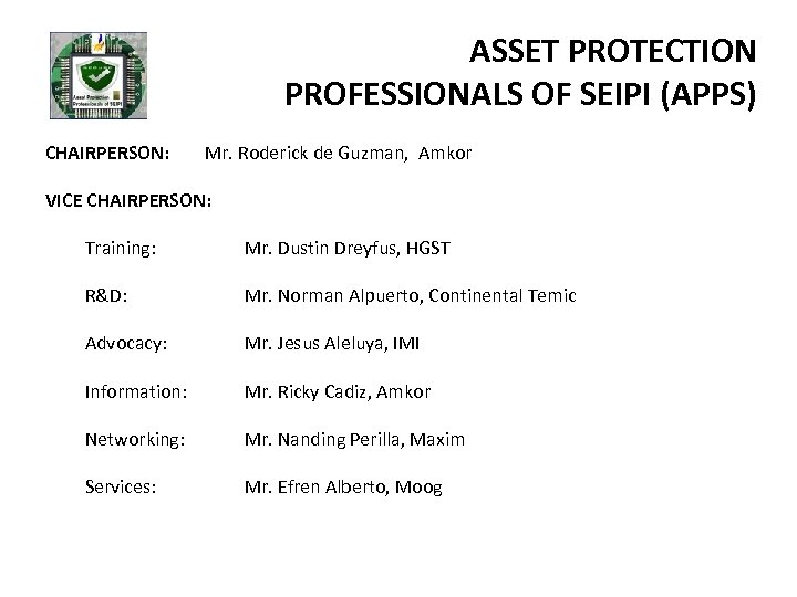 ASSET PROTECTION PROFESSIONALS OF SEIPI (APPS) CHAIRPERSON: Mr. Roderick de Guzman, Amkor VICE CHAIRPERSON: