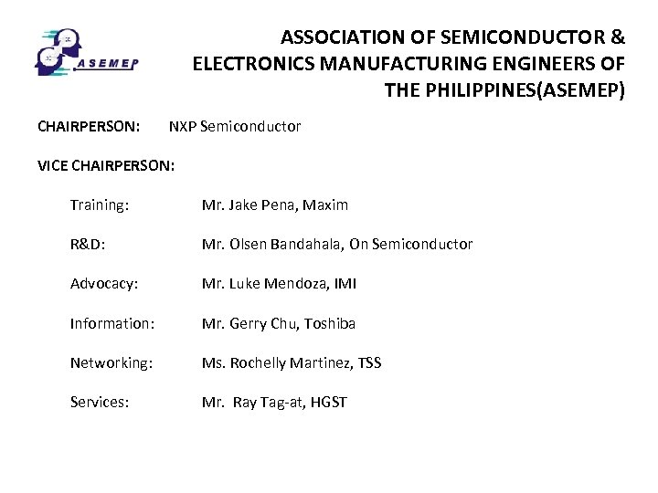 ASSOCIATION OF SEMICONDUCTOR & ELECTRONICS MANUFACTURING ENGINEERS OF THE PHILIPPINES(ASEMEP) CHAIRPERSON: NXP Semiconductor VICE