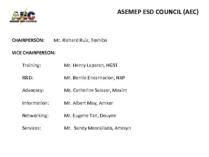 ASEMEP ESD COUNCIL (AEC) CHAIRPERSON: Mr. Richard Ruiz, Toshiba VICE CHAIRPERSON: Training: R&D: Mr.