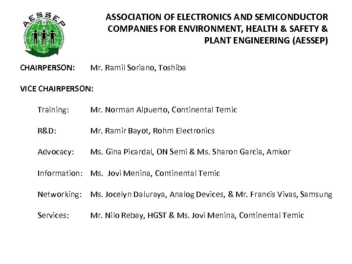 ASSOCIATION OF ELECTRONICS AND SEMICONDUCTOR COMPANIES FOR ENVIRONMENT, HEALTH & SAFETY & PLANT ENGINEERING