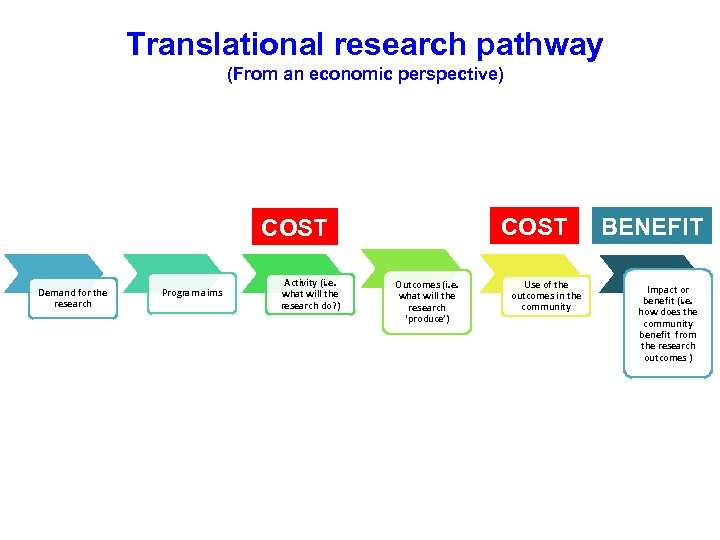 Translational research pathway (From an economic perspective) COST Demand for the research Program aims