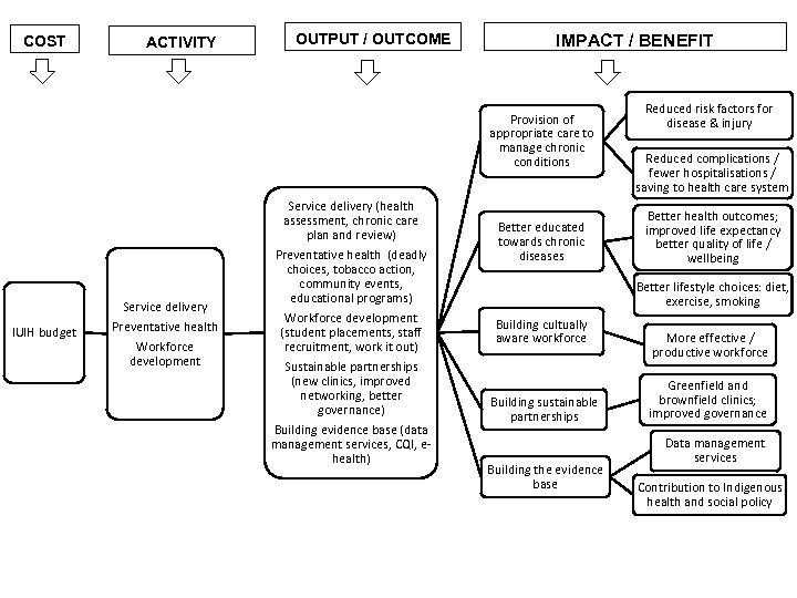 COST ACTIVITY OUTPUT / OUTCOME IMPACT / BENEFIT Provision of appropriate care to manage
