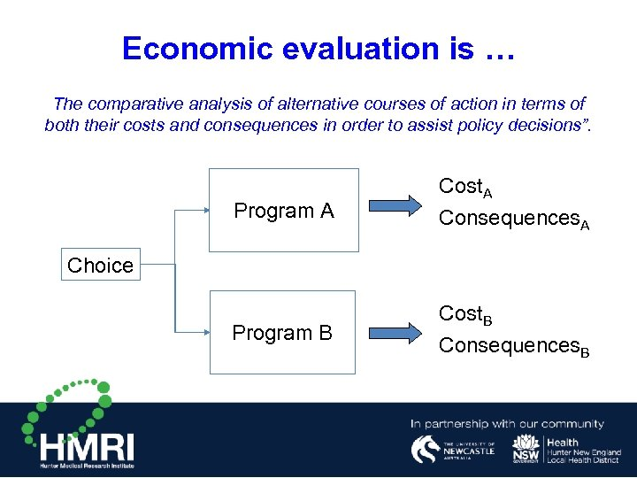 Economic evaluation is … The comparative analysis of alternative courses of action in terms