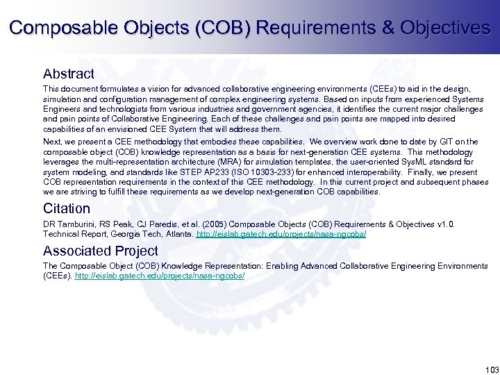 Composable Objects (COB) Requirements & Objectives Abstract This document formulates a vision for advanced