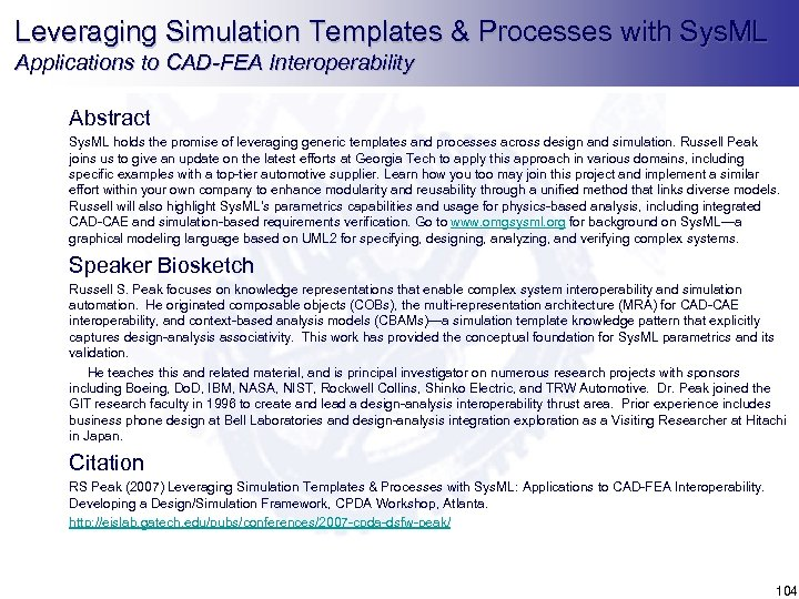 Leveraging Simulation Templates & Processes with Sys. ML Applications to CAD-FEA Interoperability Abstract Sys.