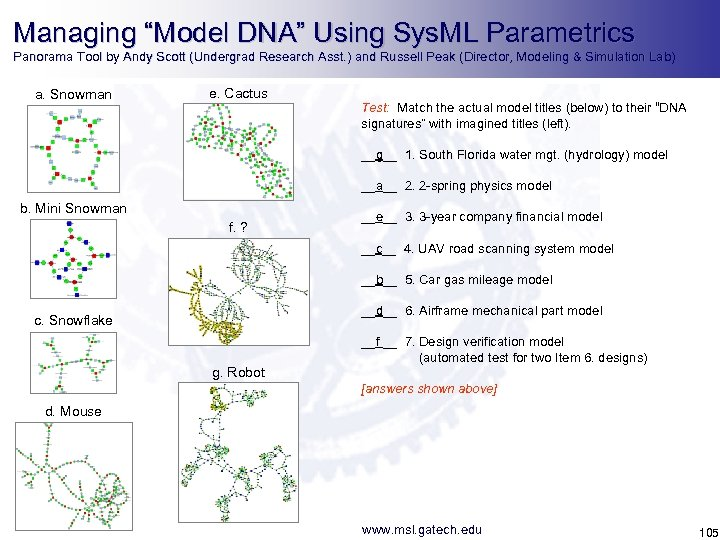 """Managing """"Model DNA"""" Using Sys. ML Parametrics Panorama Tool by Andy Scott (Undergrad Research"""