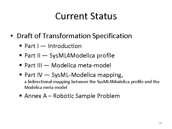 Current Status • Draft of Transformation Specification § § Part I — Introduction Part