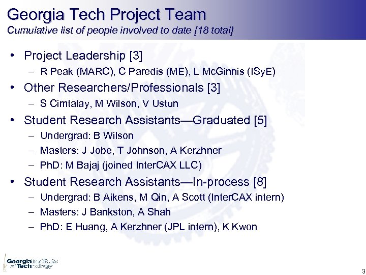 Georgia Tech Project Team Cumulative list of people involved to date [18 total] •