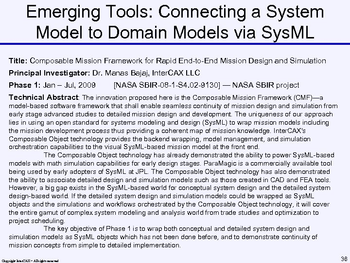Emerging Tools: Connecting a System Model to Domain Models via Sys. ML Title: Composable