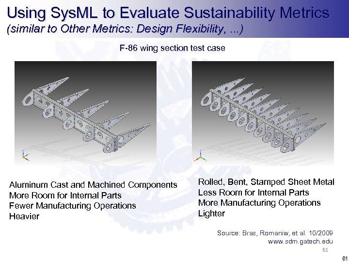 Using Sys. ML to Evaluate Sustainability Metrics (similar to Other Metrics: Design Flexibility, .