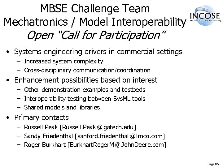 """MBSE Challenge Team Mechatronics / Model Interoperability Open """"Call for Participation"""" • Systems engineering"""