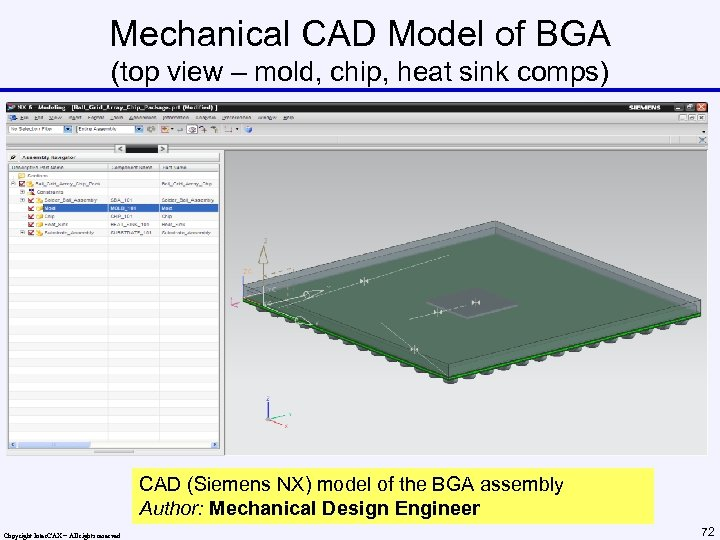 Mechanical CAD Model of BGA (top view – mold, chip, heat sink comps) CAD