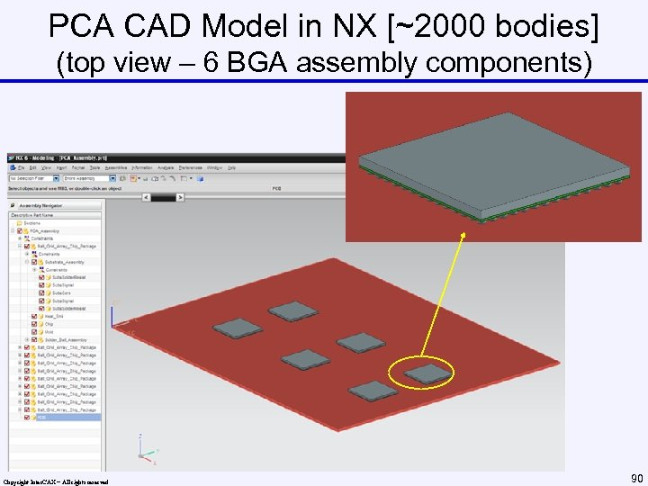PCA CAD Model in NX [~2000 bodies] (top view – 6 BGA assembly components)